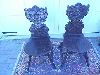 "MATCHED PAIR VICTORIAN DRK MAHOGANY FACE CHAIRS 35"" H x 17.5"" D x 16.5"" W"