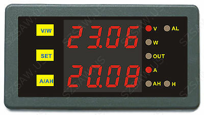 Programmable Digital Dual Display 90V 600A Combo Meter Voltage Amp Power Ah Hour