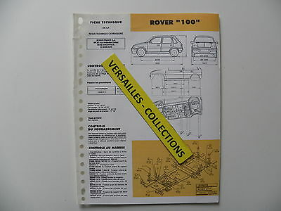 Fiche technique automobile carrosserie ROVER 100