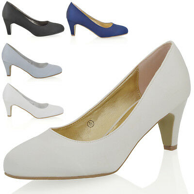 Womens Low Heel Satin Ladies Bridal Evening Party Slip On Court Shoes
