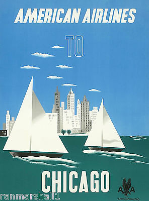 Chicago Illinois Sailboat  United States America Travel Advertisement Poster