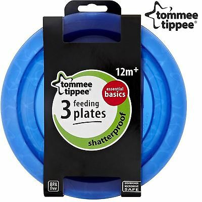 Tommee Tippee Essentials Baby Toddler Colour Feeding Plates BPA Free Blue 3 Pack