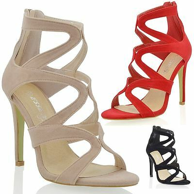 Womens Stiletto Heel Cut Out Ladies Zip Caged Strappy Party Prom Sandal Shoes