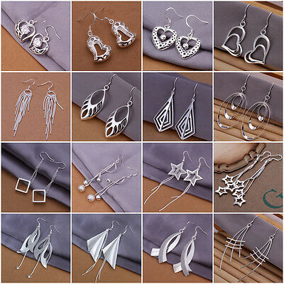 Fashion Long Tassel Stud Earrings Jewellery Women 925 Sterling Silver Ear Dangle