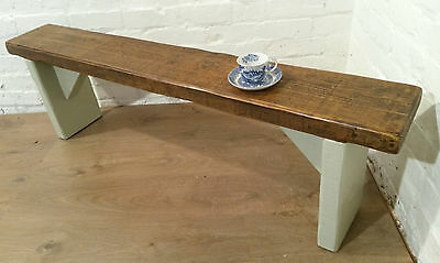 UK Hand Painted Farrow & Ball French Gray 4ft Reclaimed Solid Pine Dining Bench
