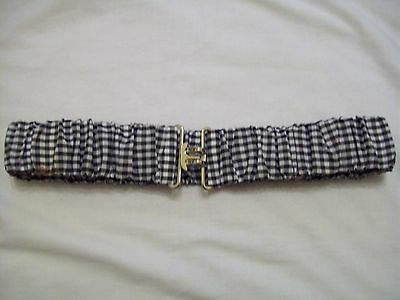 black and white gingham check stretch crinkle belt 29'' DEFECT (850.8)