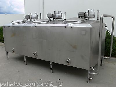 750 Gallon 3 Compartment Flavor Tank w/ Agitator Mixer, Stainless Steel Jacketed