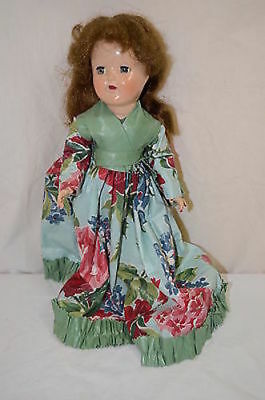 """Vintage P-90 Ideal Brown Hair and Flower Gown Toni 14"""" Doll Painted Nails 1256-3"""