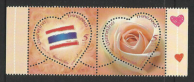 THAILAND 2013 VALENTINES DAY SCENTED LOVE STAMPS Heart Shapes se-tenant PAIR MNH