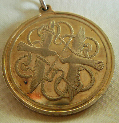 England Birmingham 1978 Gilt Sterling Silver Medal Pendant With Doves