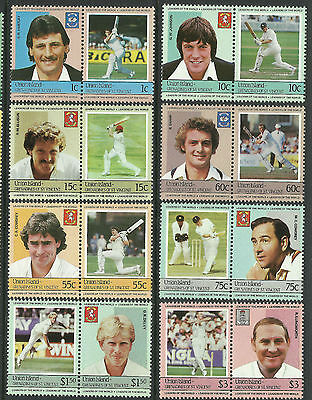 ST.VINCENT UNION ISLAND 1984 CRICKETERS Set 16 Values MNH