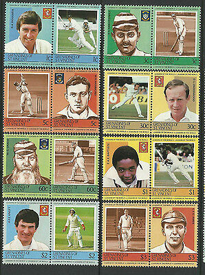 ST.VINCENT GRENADINES 1984 (1st) CRICKETERS Set 16 Values MNH