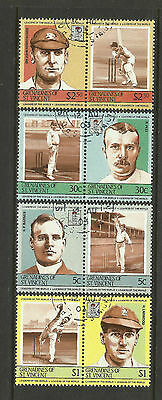 ST.VINCENT GRENADINES (2nd Set)1984 CRICKETERS Set 8 Values USED