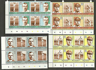 ST.VINCENT Grenadines 1984 CRICKETERS (2nd set) Set 8 Values BLOCK OF 4 MNH