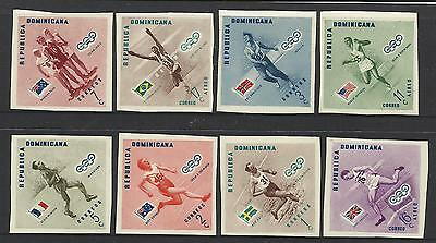 DOMINICAN REP 1956 MELBOURNE OLYMPIC GAMES Set 8v GOLD MEDAL WINNERS Imperf MNH