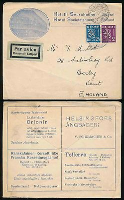 FINLAND 1934 ADVERTISING ENVELOPE HOTEL SUERAHUONE AIRMAIL to GB