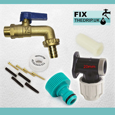 20mm MDPE Outside Tap Kit With Wall Plate & Garden Hose Fitting  lever