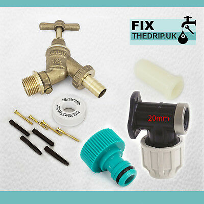 20mm MDPE Outside Tap Kit With Brass Wall Plate & Garden Hose Fitting DCV