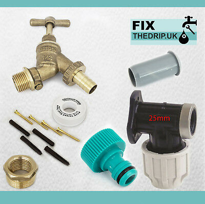 25mm MDPE Outside Tap Kit With Brass Wall Plate & Garden Hose Fitting DCV
