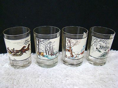 "Lot of 4 1981 Currier & Ives Arby's Winter 4.5"" Collector Series Glasses, Decor"