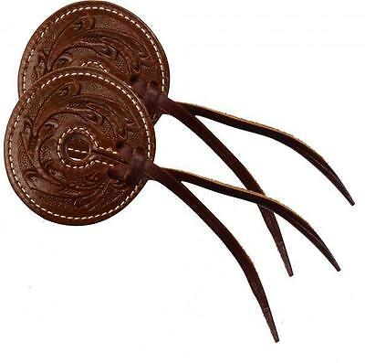 "Showman MEDIUM Floral tooled 3"" wide leather horse bit guard! SOLD IN PAIRS!"