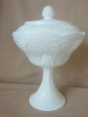 Indiana Milk Glass Stemmed Compote w Lid Havest Grape 11""