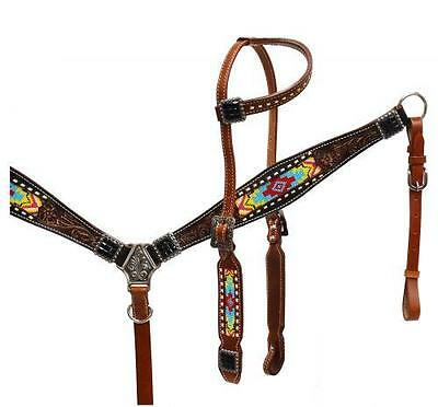 Showman Headstall and Breast Collar Set with Beaded Inlay! NEW HORSE TACK!