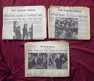 John Jackie Kennedy Oswald New York Los Angeles Times Newspapers Nov 25 26 1963