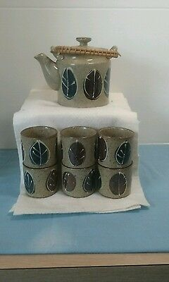 Made In Japan Tea Set Stone Ware Tea Pot With Lid Wicker Handle 6 Cups