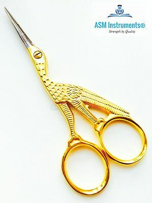 "Professional Embroidery  Cross Stitch Stork Scissors Gold Plated 4"" Shears Craft"