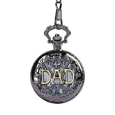 Stylish Antique DAD Pocket Watch Pendant Black Mens Pappy Father's Day Gift