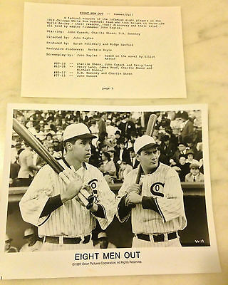 EIGHT MEN OUT (1988) Press Kit Photos; Chicago White Sox; Charlie Sheen, Cusack