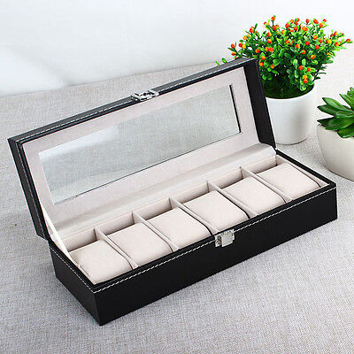 6 Grid Slots Wrist Watches Gift Case Jewelry Display Boxes Storage Holder UD