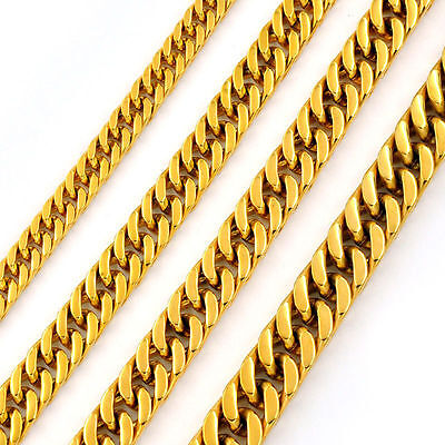 3~12mm Men's Boys Stainless Steel 18K Gold Curb Cuban Chain Necklace 16~40''inch