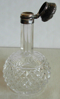 Antique Crystal Glass & Sterling Silver Perfume Bottle- England Birmingham