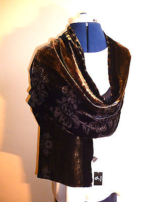 New Kimono Devor Velvet Designer Butterfly Pattern Beaded Silk Scarf Shawl Stole