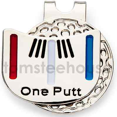 "4 x MAGNETIC HAT CLIP with ""One Putt"" GOLF BALL MARKER"