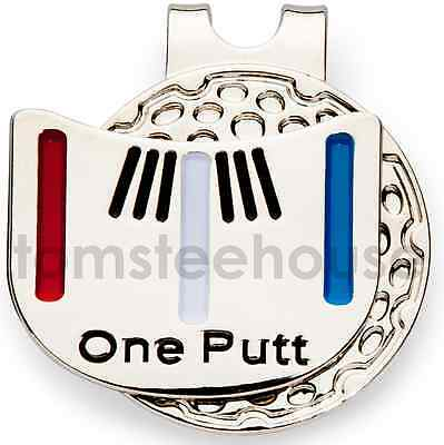 "2 x MAGNETIC HAT CLIP with ""One Putt"" GOLF BALL MARKER"