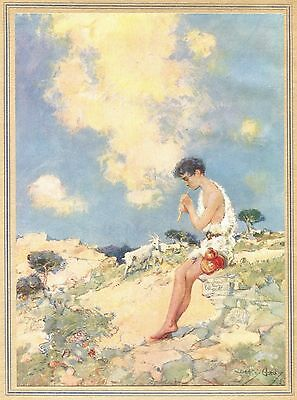 The Little Goatherd boy playing pipes to mountain goats 1915 vintage art print