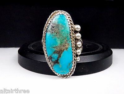 Navajo Sterling Silver Ring Turquoise Native American Long Beaded Large Long 925