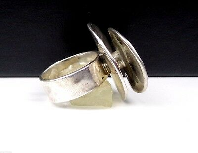 Modernist Sterling Silver 925 Double Abstract Circle Statement Ring Taxco Mexico