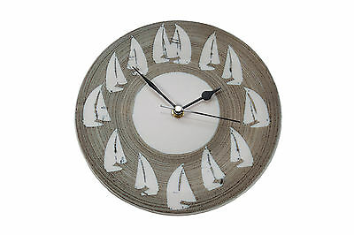 Hand Thrown Pottery - Wall Clock By Tregear Pottery - Sailing Boats