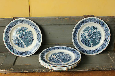Antique 1915, Blue & White  Pountney & Co,  Mandarin. Dinner Plates x 6