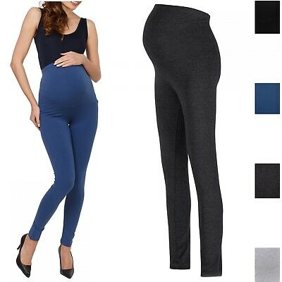 Happy Mama. Women's Maternity Stretchy Leggings Over-the-Bump Waistband. 975p