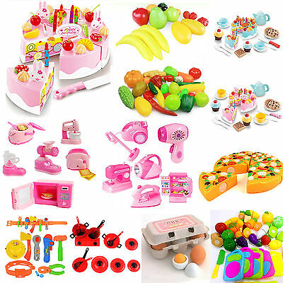 Be Kids Pretend Role Play Kitchen Home Fruit Vegetable Food Toy Cutting Set Gift