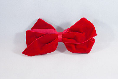 Unit of 10 Large 4 Inch Red Velvet Hair Bows on Medium French Barrette Clips