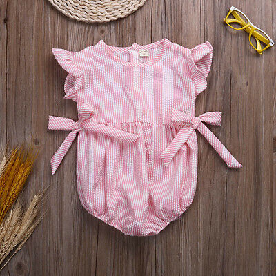 Hot Baby Newborn Girls Stripe Romper Summer Clothes Playsuits Outfits Sets 6-24M