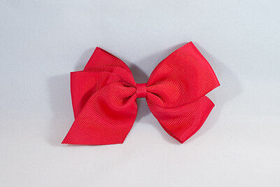 Unit of 6 Large 4 Inch Red Hair Bows on Small French Barrette Clips Grosgrain