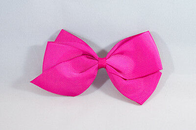 Unit of 10 Large 4 Inch Fuschia Bows on Small French Barrette Clips Grosgrain