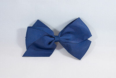 Unit of 10 Large 4 Inch Navy Hair Bows on Medium French Barrette Clips Grosgrain